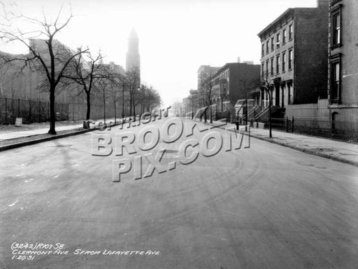 Clermont Avenue south from Lafayette Avenue, 1931 Old Vintage Photos and Images