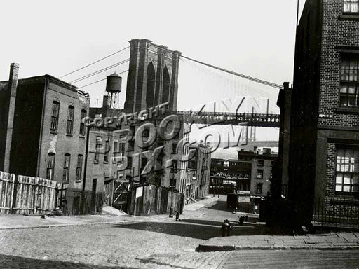 Columbia Heights looking toward Brooklyn Bridge and Fulton Ferry elevated terminal, 1922 Old Vintage Photos and Images
