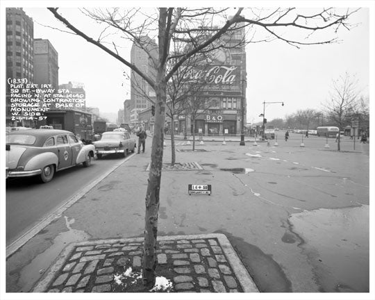 Columbus Circle looking at B & O Railroad Building 1957 - Upper West Side - Manhattan - New York, NY Old Vintage Photos and Images
