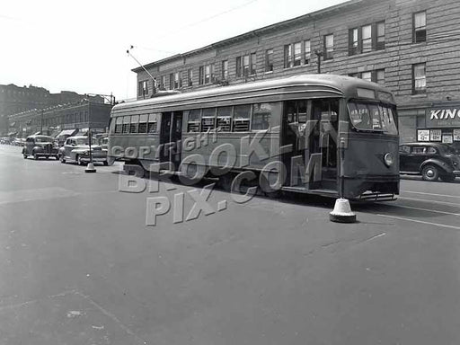 Coney Island Avenue PCC Trolley #1047 near Newkirk Avenue, 8-13-47 Old Vintage Photos and Images