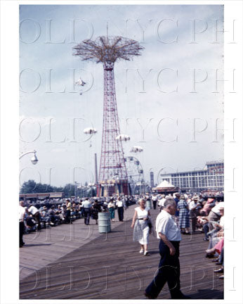 Coney Island Parachute Jump 1954 Old Vintage Photos and Images