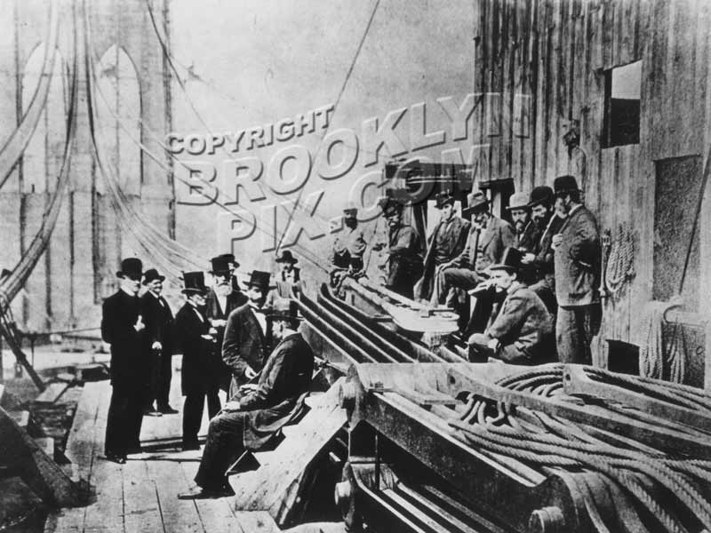 Construction scene at Brooklyn Bridge anchorage, c.1878 Old Vintage Photos and Images