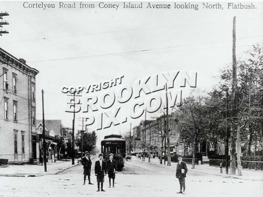 Cortelyou Road, looking east from Coney Island Avenue, 1915. Avenue C trolley seen at its terminal Old Vintage Photos and Images