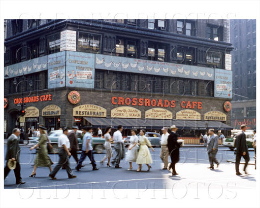 Crossroads Cafe Times Square Manhattan, NYC 1952 Old Vintage Photos and Images