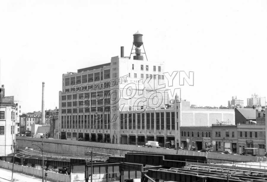 Daily News printing plant beyond Atlantic Yards at Pacific Street, c.1940 Old Vintage Photos and Images