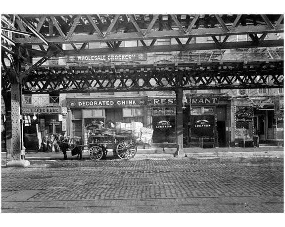 """Decorated China Restaurant"" Bowery - east side - between Houston & Stanton Street 1915 Old Vintage Photos and Images"