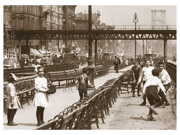 Delancey St. east to Allen & Williamsburg Bridge 1907 Old Vintage Photos and Images