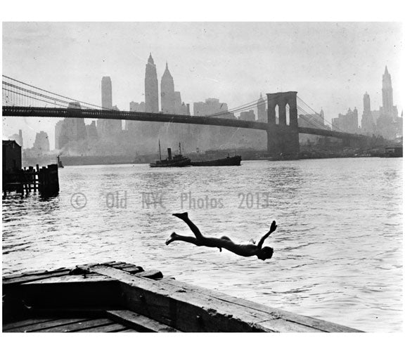 diving in head first with the Brooklyn Bridge and Manhattan Skyline in the background Old Vintage Photos and Images