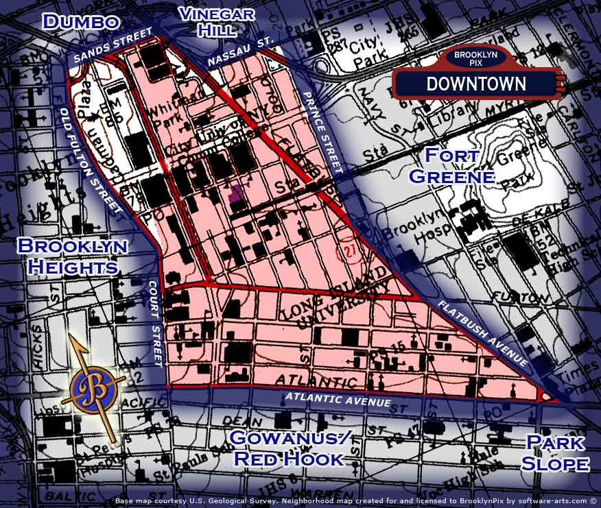 Downtown Brooklyn neighborhood borders map Old Vintage Photos and Images