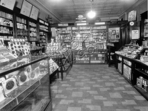 Drugstore interior at 5324 Church Avenue, 1930s Old Vintage Photos and Images