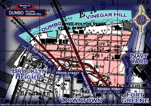 DUMBO and Vinegar Hill neighborhood borders map Old Vintage Photos and Images