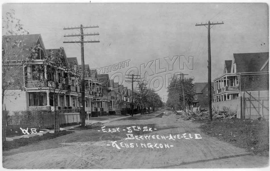 East 5th Street north from Avenue F to Ditmas Avenue(?), 1906 Old Vintage Photos and Images