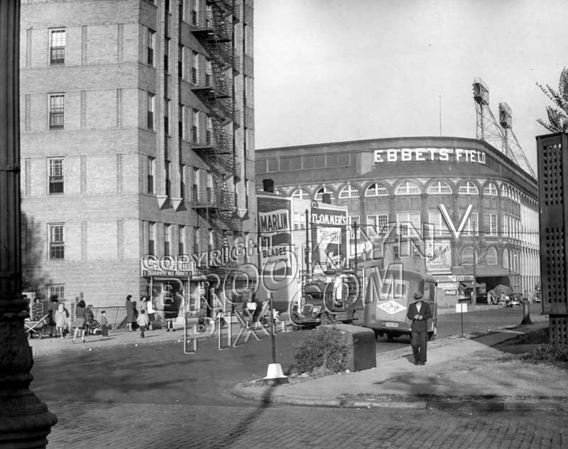 "Ebbets Field, from Washington Avenue and Sullivan Place, with WWII Allied victory ""V,"" 1945 Old Vintage Photos and Images"
