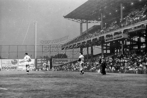 Ebbetts Field with clown Emmett Kelly at right, 1957 Old Vintage Photos and Images