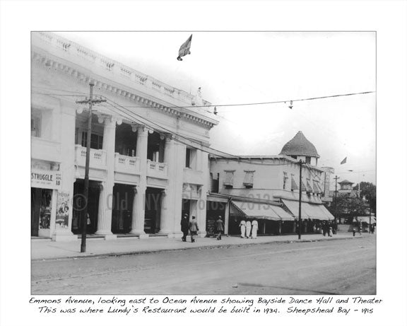 Emmons Ave, looking east to Ocean Ave showing Bayside Dance Hall 1915 Old Vintage Photos and Images