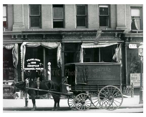 """Empire Overhaul Laundry"" Horse & wagon parked on Lexington Avenue - Upper East Side -  Manhattan NYC 1913 Old Vintage Photos and Images"
