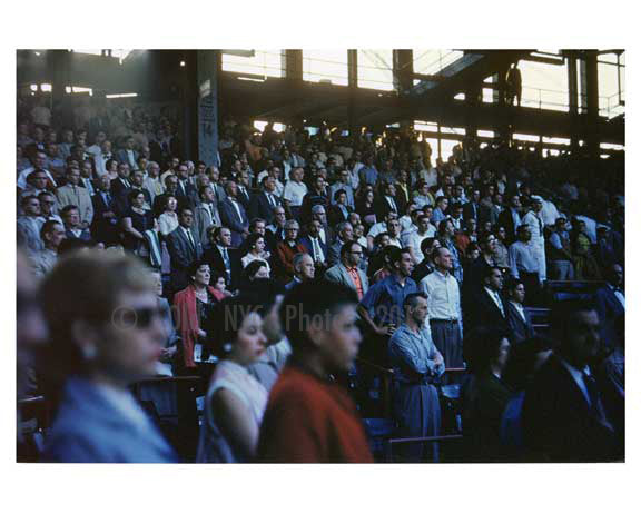 Fans at Ebbets Field - look on while the Brooklyn Dodgers take the field - Brooklyn NY 1