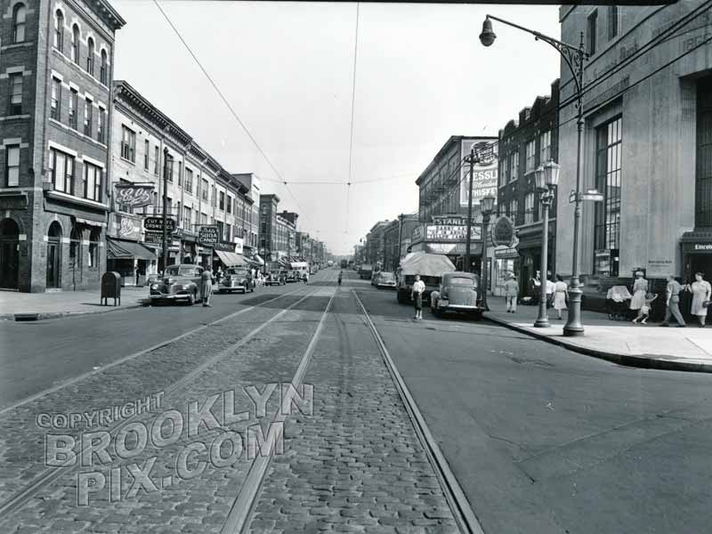 Fifth Avenue, northeast from 75th Street (Bay Ridge Parkway), showing Stanley Theater, 1944