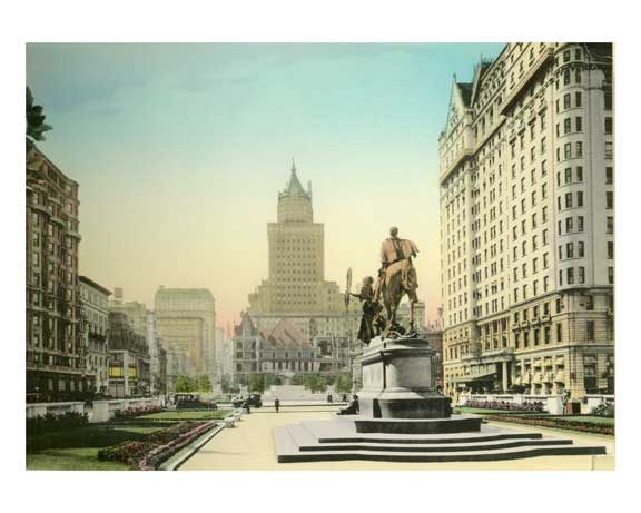 Fifth Avenue & the Plaza - Heckscher Building - General Sherman Statue - Hotel Plaza -  Midtown Manhattan Old Vintage Photos and Images