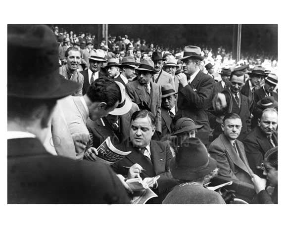 Fiorello La Guardia at Yankke Stadium for the Yankees Vs. NY Giants game - Bronx NY 1936