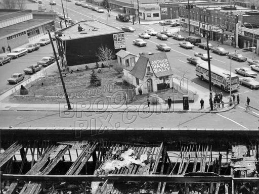 Flatbush Avenue at Avenue N; ruins of Bowling Alley fire in foreground, 1972 Old Vintage Photos and Images
