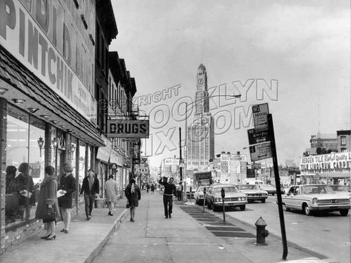 Flatbush Avenue, northwest from Bergen Street and Pintchik Paints, 1970 Old Vintage Photos and Images