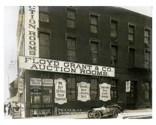 """Floyd Grant & Co. Auction Rooms"" - South West Corner of 50th Street & 7th Avenue - Midtown Manhattan - 1915 Old Vintage Photos and Images"