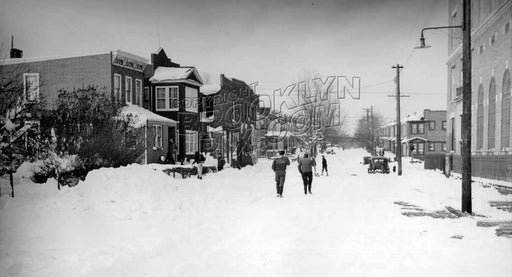 Forbell Street, north to Pitkin Avenue; PS 214 on the right. during Blizzard of 1947 Old Vintage Photos and Images