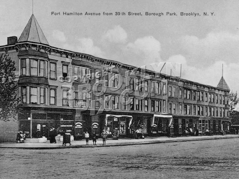 Fort Hamilton Avenue (Parkway) across 39th Street, 1912 Old Vintage Photos and Images