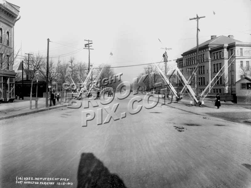 Fort Hamilton Parkway looking north at New Utrecht Avenue with PS 131, 1913 Old Vintage Photos and Images