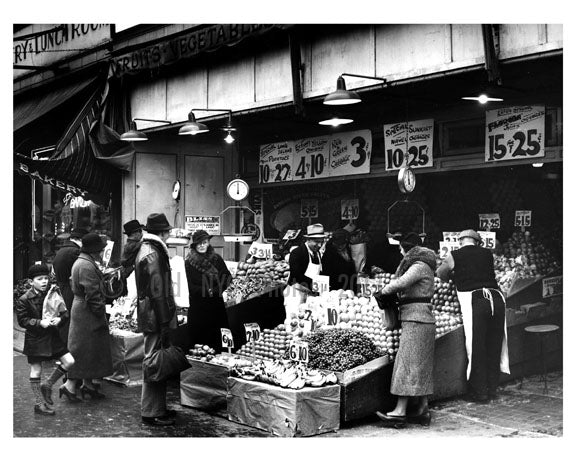 Fruit & Vegetable market -1936 - Long Island City - Queens NY Old Vintage Photos and Images