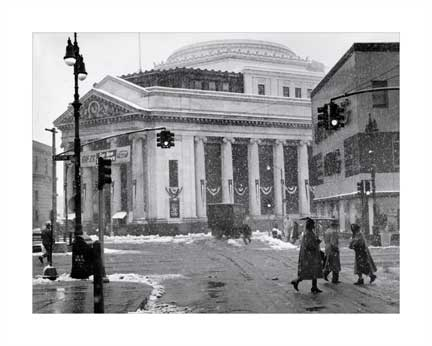 Fulton St Snowing - Dime Savings Bank - Albee Square - Downtown Brooklyn NYC Old Vintage Photos and Images