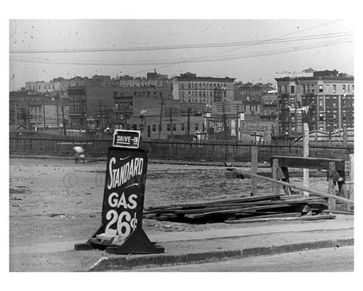 "Gas advertised as ""26 cents"" at 161st Street  Station  - Washington Heights -  Manhattan 1916 Old Vintage Photos and Images"