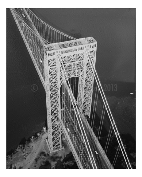 George Washington Bridge - axonometric of the New York Tower Old Vintage Photos and Images