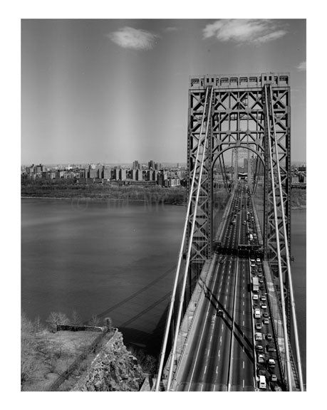 George Washington Bridge - 'Barrel Shot' looking towards Manhattan Old Vintage Photos and Images