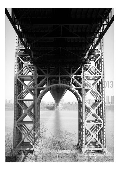 George Washington Bridge  - detail showing bridge pier & tower base, New Jersey Old Vintage Photos and Images