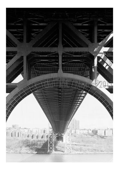 George Washington Bridge - detail showing tower arch under deck of Bridge Old Vintage Photos and Images