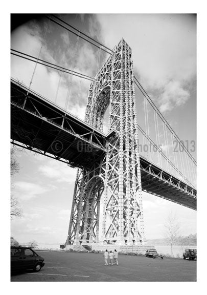 George Washington Bridge -  looking up near the base of the Jersey Tower Old Vintage Photos and Images