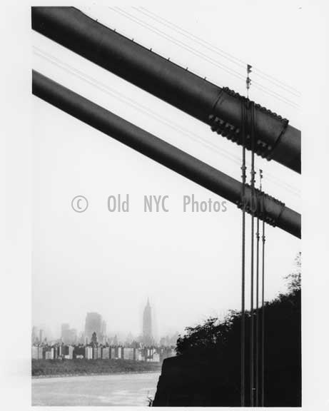 George Washington Bridge - Manhattan skyline behind it - 1959 New York, NY Old Vintage Photos and Images