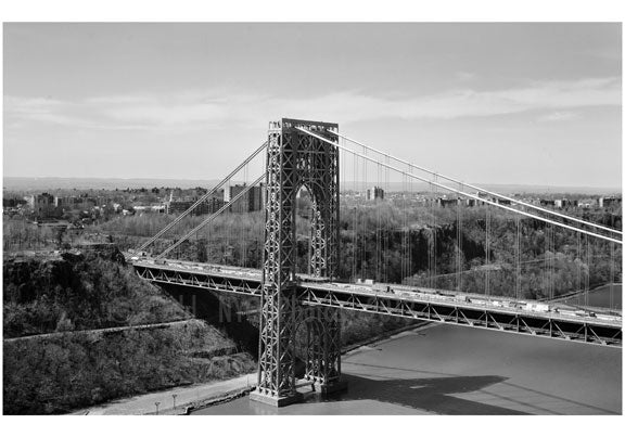 George Washington Bridge - New Jersey Tower with N.J. in the background Old Vintage Photos and Images