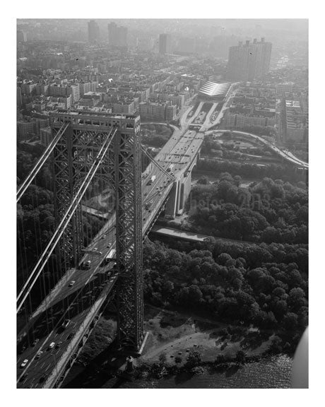 George Washington Bridge - New York Tower looking east down the New York Approaches Old Vintage Photos and Images