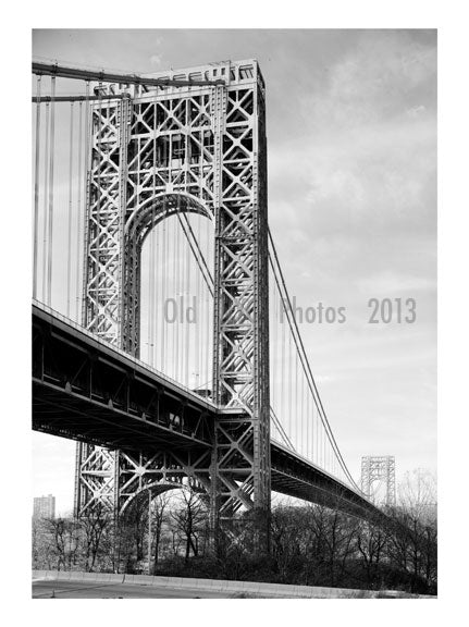 George Washington Bridge - New York Tower looking west Old Vintage Photos and Images