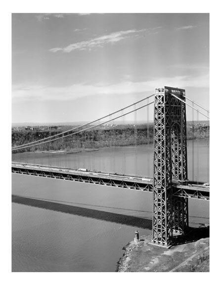 George Washington Bridge - New York Tower with N.J. in the background Old Vintage Photos and Images