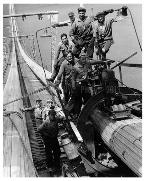 George Washington Bridge  under construction Crew smiles for photo on the cables - Brooklyn,  NY Old Vintage Photos and Images