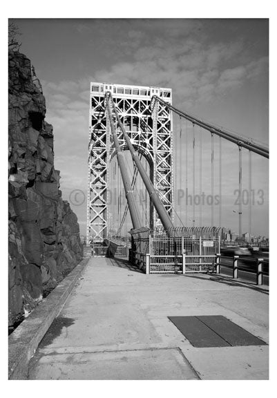 George Washington Bridge - view of west end tower (N.J. end) Old Vintage Photos and Images