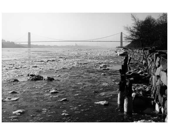 George Washington Bridge - with a Hudson River iced over - 1959 New York, NY Old Vintage Photos and Images