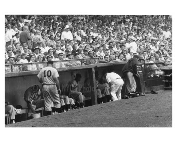 Giants in the Visitors Dugout Ebbets Field -  last Giant - Dodger game 1957