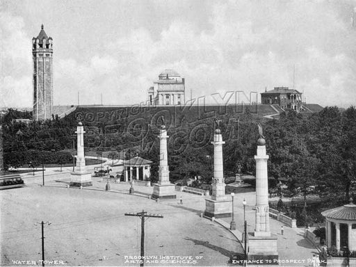 Grand Army Plaza, showing reservoir tower and Brooklyn Museum, 1905 Old Vintage Photos and Images