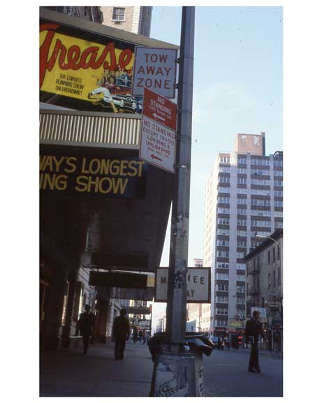 """Grease"" - the longest running show on Broadway -  Theater District NYC 1970s Old Vintage Photos and Images"