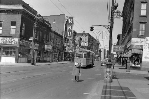 Greenpoint Avenue looking north at Calyer Street and RKO Greenpoint Theater, 1950 Old Vintage Photos and Images
